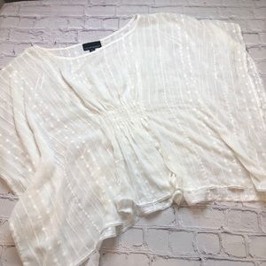 Cynthia Rowley butterfly sleeve sheer top large
